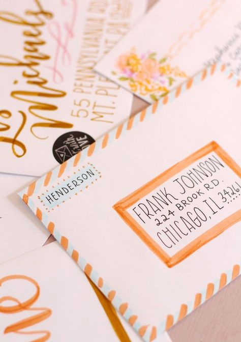 Envelope Addressing and Decorating Inspiration Using Tombow Dual Brush Pens Part 2 - Lily & Val Living Letters Ideas, Cute Letters, Mail Art Envelopes, Cute Envelopes, Decorated Envelopes, Tombow Dual Brush Pen, Letter Addressing, Addressing Envelopes, Snail Mail Pen Pals