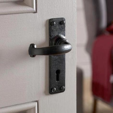 Antique Black Iron Lever Door Handle Plain Backplate Kirkpatrick 2568 Door Handles Lever Door Handles Black Door Handles