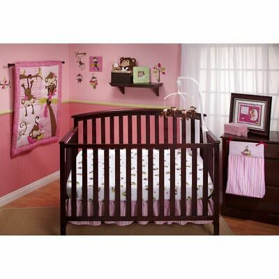 Pink Brown Monkey 10 Pc Crib Bed Set Baby Girl Nursery Comforter Mobile Diaper In 2020 Crib Bedding Girl Girl Crib Bedding Sets Crib Sets Girl