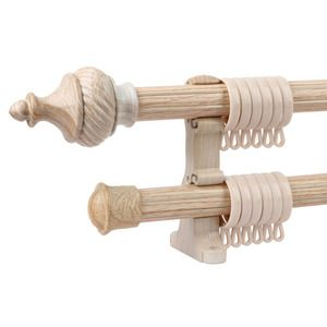 Diy Double Curtain Rod Bracket Wooden Curtain Rods Curtain Rods