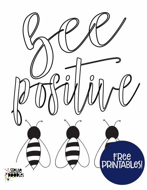 Bee Positive Free Coloring Page Stevie Doodles Free Coloring Pages Coloring Pages Free Coloring