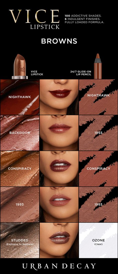 The pigment load in Vice Lipstick is insane! Just one swipe provides an unbelievable laydown of color. And every shade applies smoothly (without dragging or skipping), hugs lips, and feels amazing! Our proprietary Pigment Infusion System™ gives the formula its super-creamy texture, rich payout and superior color dispersion. Check these Brown shades now at urbandecay.com. #LipstickIsMyVice