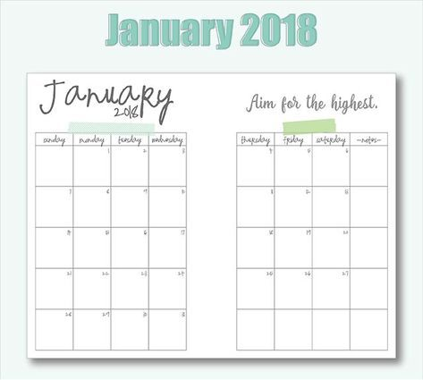 photo relating to A5 Planner Printables identified as Cost-free Printable A5 2018 Every month Calendars Bullet Magazine