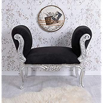 baroque Banc Chaise-longue Noir Argent Banc en bois Tabouret baroque Palazzo en exclusivit/é