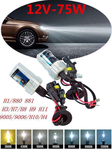 Pair 75W HID Xenon Driving Bulbs H1 H3 H4 H7 H8 H11 9005 9006 Headlight Lamps
