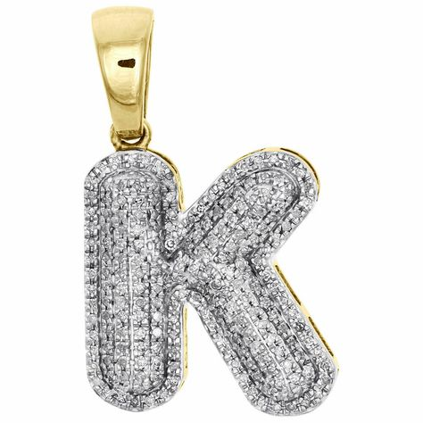 2.00 Ct Round Cut Simulated Diamond BubbleP Letters Initial Pendant Solid 10K Yellow Real Gold