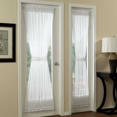 59 X40 Emily Voile Rod Pocket Door Sheer Curtain Panel White No