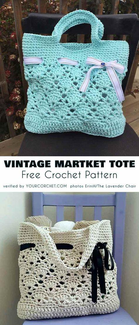 Vintage Market Tote Free Crochet Pattern