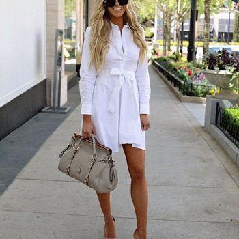 White Dress Women Bandage Shirt Casual Dress Summer Party Dress Robe Femme Long Sleeve Vestidos Color White Size S