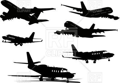 Silhouettes Of Passenger Airplane Take Off Landing Flying And In Airport Back Side Front View 57297 Do Vector Artwork Free Vector Clipart Vector Free