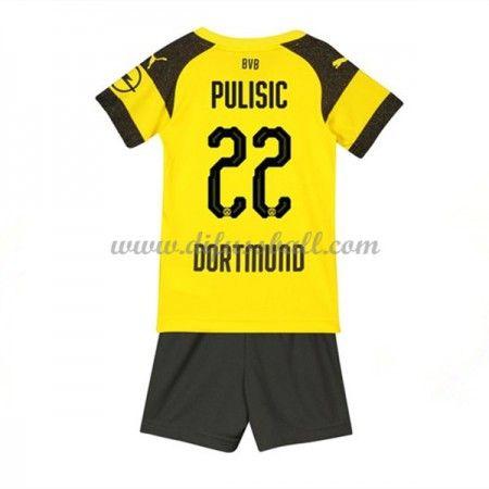 Bvb Borussia Dortmund Fussballtrikots Kinder 2018 19 Christian Pulisic 22 Heim Trikotsatz Kurzarm Borussia Dortmund Dortmund Christian Pulisic