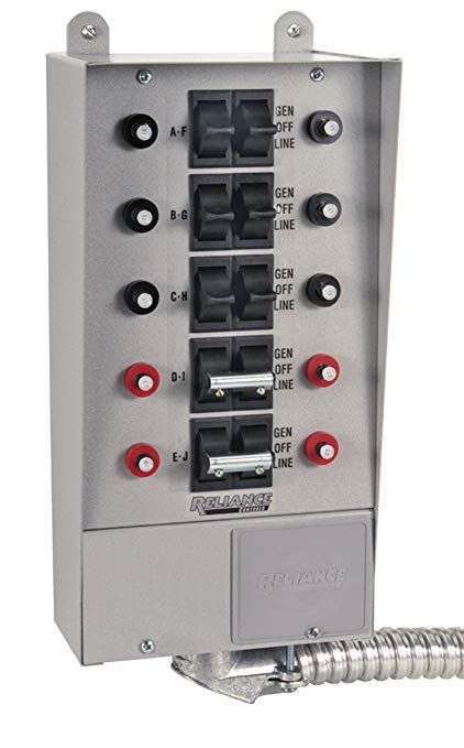Reliance Controls Corporation 31410b Pro Tran 10 Circuit Indoor Transfer Switch For Generators Up To 7 500 Running Watts Review Transfer Switch Circuit Switch