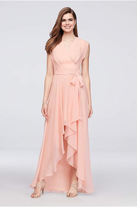 f87774445b Faux-Wrap Cap Sleeve Chiffon Bridesmaid Dress - The surplice bodice of this  high-low chiffon bridesmaid
