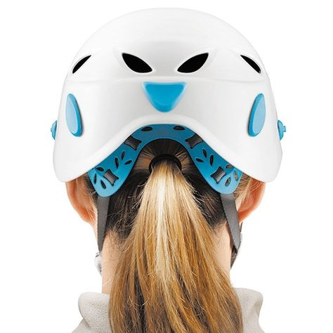 Petzl s Elia comes with a notch allowing for ponytails!  b9bace2e50f
