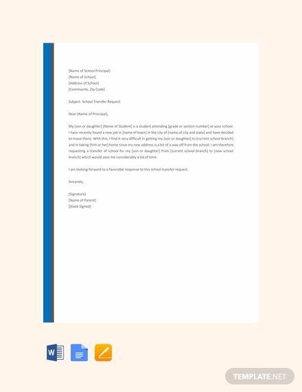 Free Elementary School Transfer Request Letter Elementary