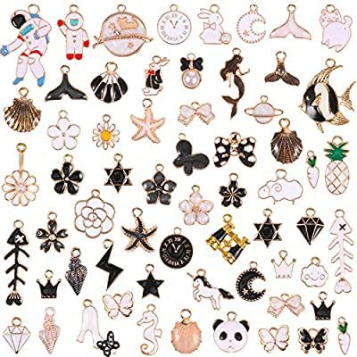 62 Pieces Mixed Enamel Black and White Theme Charms Enamel Jewelry Pendants for Jewelry Making Necklace Earrings Bracelet Craft Findings Mixed Enamel Rhinestone Women Makeup Charms