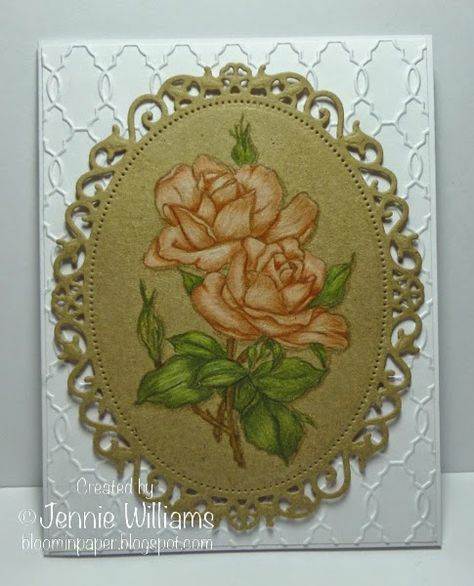handmade card from Bloomin' Paper ... die cut oval frame of kraft ... gorgeous roses image colored with colored pencils ... no-line technique: stamped with Versamark ...