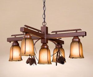 This 5 Light Chandelier features three dimensional pine cones and branches adorning the light fixture.