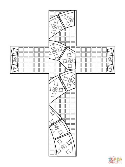 Cross Mosaic Super Coloring Cross Coloring Page Coloring
