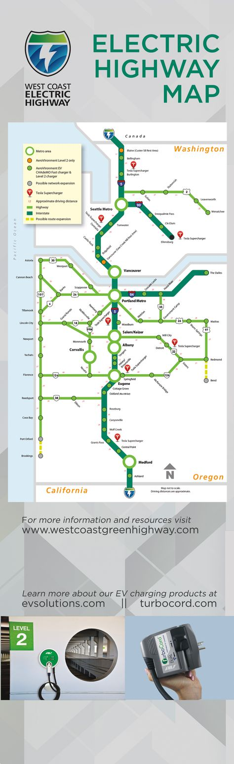 Map Of Oregon Highways%0A    best AV  u     West Coast Electric Highway images on Pinterest   West coast   Electric vehicle and Power cars