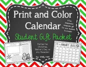 Christmas Gifts For Parents From Students.Christmas Gift For Parents Print And Color Calendar