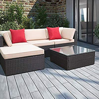 Devoko 5 Pieces Patio Furniture Sets All Weather Outdoor Sectional