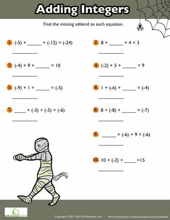 Adding Positive And Negative Numbers 4 Worksheet Education Com Negative Numbers Worksheet Negative Numbers Math Integers