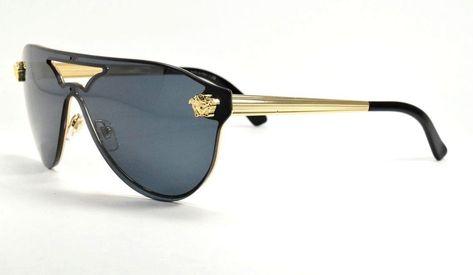 e6f5ba1e3b8 Versace 2161 1002 87 Shield Gold   Black W  Gray Lenses  fashion  clothing   shoes  accessories  womensaccessories  sunglassessunglassesaccessories  (ebay ...