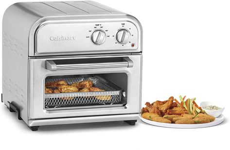 Now anyone can enjoy crispy, flavorful fried foods without the guilt. Engineered to ensure golden brown results, this high-efficiency unit air fries 2.5 lbs. of wings and cooks a wide variety of foods with minimal noise and maximum ease. Simple to use just turn one knob to regulate the temperature and the other to set the timer. Designed with a spacious, nonstick interior and stylish stainless steel, the Cuisinart AirFryer is easy to clean and complements any kitchen decor. Specially engineered