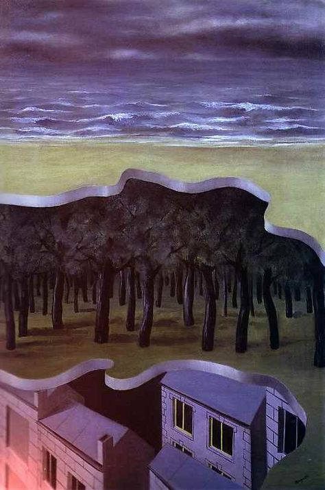 Rene Magritte - Panorama Populare  as we look at this painting the first thing we see is the division between spaces almost as if these areas of space are layers. This painting also uses mostly cool colors. Cool colors help perceive depth.