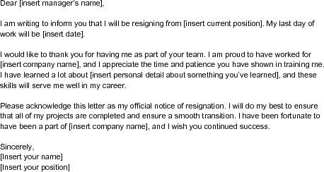 Printable Sample Letter Of Resignation Form  Me