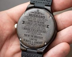 Great Gift For Husband Engraving Wooden Watch | by HeavenKP on Zibbet