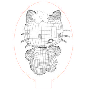 Hello Kitty 3d Illusion Led Lamp Vector File For Laser And Cnc 3bee Studio 3d Illusions Illusions 3d Illusion Lamp