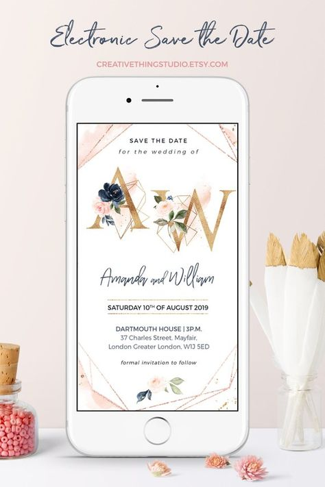 Save the Date Wedding Invitations, Electronic Save the Date with Monogram, Wedding Evites, Electroni