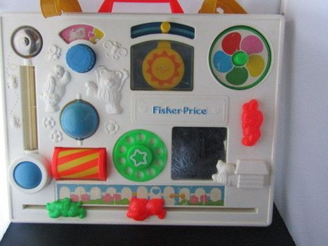 Vintage Fisher Price Activity Center Busy Box Baby Crib Toy Mirror