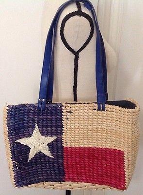 Texas Lone Star Flag Purse Straw Weaved Shoulder Bag Tote By Scala Unique Straw Lone Star Flag Purses Shoulder Bag