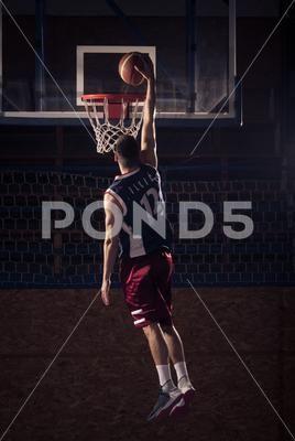 Basketball Player One Hand Slam Dunk Premium Photo 74446209 Basketball Players Slam Dunk Best Photoshop Actions