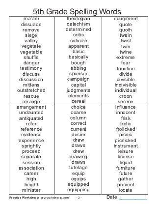 5th Grade Spelling Words List 6th Grade Spelling Words Spelling