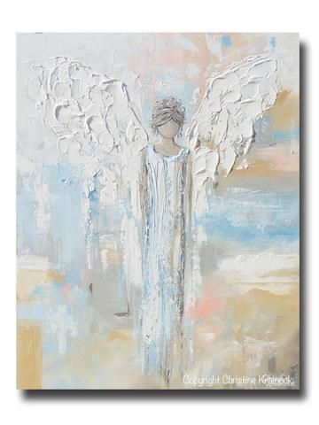 GICLEE PRINT Abstract Angel Painting Blue White Guardian Angel Inspirational Art Spiritual Wall Art