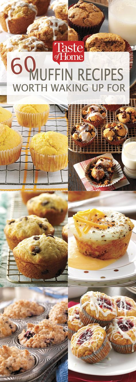 Our best muffin recipes like banana mocha-chip, blueberry yogurt and apple crunch make sure there won't be any sleepyheads at breakfast. Muffin Tin Recipes, Baking Recipes, Muffin Tins, Bread Recipes, Brunch Recipes, Sweet Recipes, Dessert Recipes, Cupcake Recipes, Mocha Cupcakes