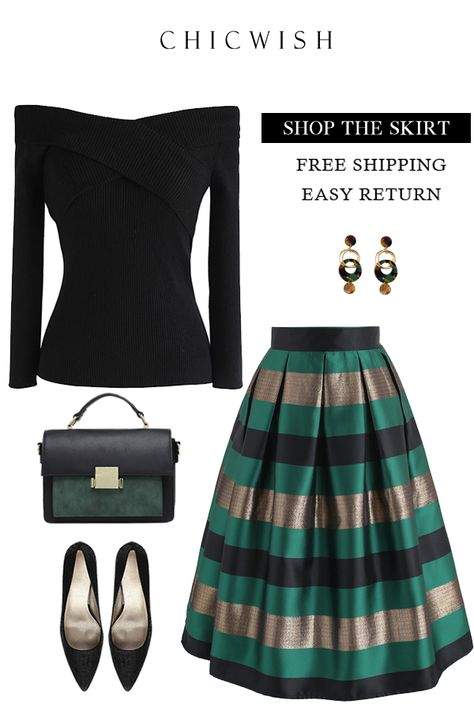 Free Shipping & Easy Return. Up to 30% Off. Cheers Stripes Pleated Midi Skirt in Green.