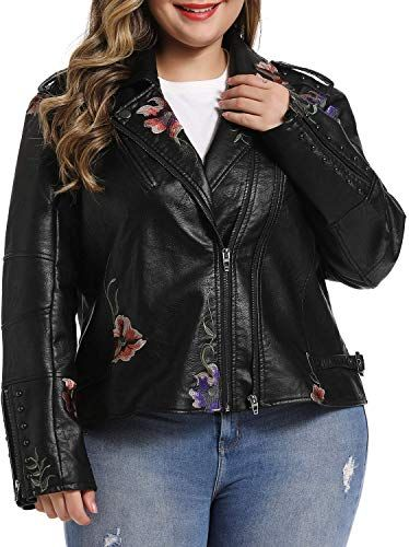 S P Y M Womens Casual Plus Size Faux Leather Fashion Quilted Moto Jacket