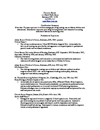 Pediatric Nurse Resume Objective - http\/\/wwwresumecareerinfo - resume for nurses
