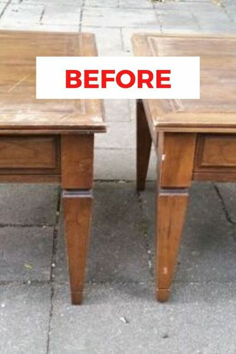 Check out this before and after flea market flip idea for turning old nightstands into ottomans for your living room decor. This easy and cheap upcycling furniture idea is perfect if you're decorating on a budget. Upcycled Furniture Before And After, Repurposed Furniture, Refurbished Furniture, Painted Furniture, Budget Home Decorating, Furniture Makeover, Chair Makeover, Furniture Refinishing, Furniture Ideas