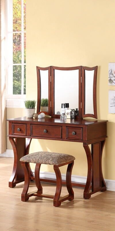 F4118 3 Pc Cherry Finish Wood Make Up Bedroom Vanity Set With Curved Pedestal Legs Stool And Tri Fold Mir Bedroom Vanity Set Cherry Bedroom Furniture Furniture