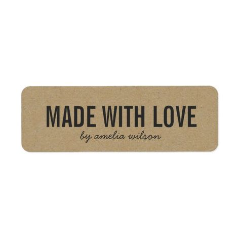Stylish Rustic Bold Made with Love Faux Kraft Label