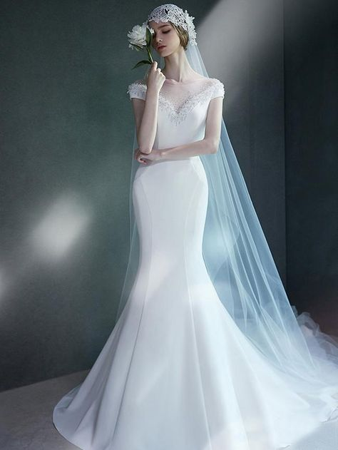 Beaded White Mermaid Wedding Dresses Cheap Simple Modest Wedding Dress AWD1143 - US 0 / Other Colors