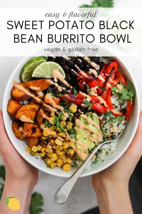 health meals This sweet potato black bean burrito bowl is an easy vegan dinner recipe that is perfect for meal prep! Its loaded with fresh flavor, spicy tahini dressing, cilantro lime rice and roasted veggies for the perfect vegan buddha bowl. Healthy Food Recipes, Tasty Vegetarian Recipes, Vegan Dinner Recipes, Vegan Dinners, Whole Food Recipes, Cooking Recipes, Veggie Recipes, Vegan Sweet Potato Recipes, Vegetarian Sweets