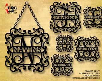 Split Regal Monogram Alphabet Letters SVG DXF Metal Vinyl Laser cnc Plasma Silhouette Monogram Frame Alphabet Cricut Silhouette Cut Files