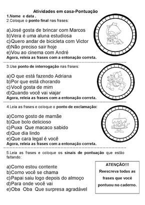 Pontuacao Atividades Pedagogicas Atividades Sinais De Pontuacao